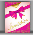 a card with a pink ribbon for an invitation vector image vector image
