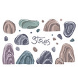a set different stones in cartoon style vector image