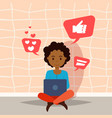 african woman using laptop thinking social media vector image vector image