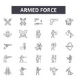 armed force line icons signs set linear vector image