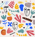 art hand drawn collage seamless pattern vector image vector image