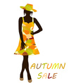 Autumn background with fashion woman with dress vector image