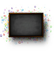 Background with blackboard and letters vector image