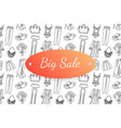 big sale banner with hand drawn fashion clothes vector image vector image