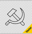 Black line hammer and sickle ussr icon isolated on
