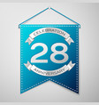 blue pennant with inscription twenty eight years vector image vector image
