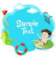 border design with boy in the pool vector image vector image