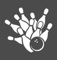 Bowling ball and pins graphic vector image
