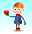 Boy with heart vector image vector image