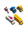 cars motorcycles buses and truck isometric set vector image