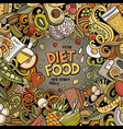 cartoon doodles diet food frame bright vector image