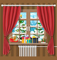 christmas landscape with forest in window vector image vector image