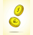 coins euro and dollar falling down vector image