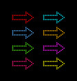 colored neon arrows on a black background vector image vector image