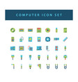 computer hardware icon set with colorful modern vector image