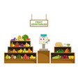 counter with fruits supermarket vector image