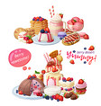 dessert cafeteria menu top with vector image vector image