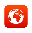 earth globe icon digital red vector image vector image