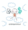 entrepreneur goes through the sky with a briefcase vector image vector image