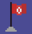 flag on pole pedestal with cloth on wooden stick vector image