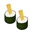 Fried Egg Sushi Roll or Tamagoyaki Maki vector image vector image