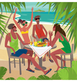 Friends eating breakfast at a table on the beach vector image