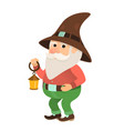 garden gnome with a small flashlight oil lamp vector image