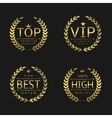 Golden laurel wreath labels vector image