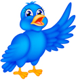 happy blue bird waving wings vector image vector image