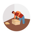 hipster assembles furniture vector image vector image