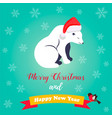 holiday greeting card with cute polar bear vector image