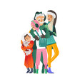 hugging family in vector image vector image