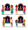 indian character celebrating diwali set vector image