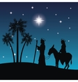 joseph maria and donkey icon Merry Christmas vector image vector image