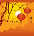 lanterns hanging on branches vector image vector image
