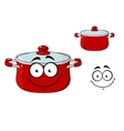 Little red cartoon cooking saucepan with a lid vector image