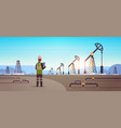 male engineer refinery worker using tablet oil vector image vector image