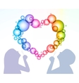 Man and woman inflate bubbles in the form of heart vector image vector image