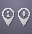 Map Pointer Icon with Male and Female symbols vector image vector image