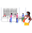 mix race passengers in protective masks standing vector image vector image