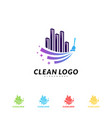 modern city cleaning logo design concept building vector image