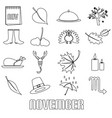 november month theme set of simple outline icons vector image vector image