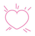 pink outline heart love vector image vector image