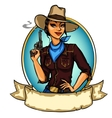 Pretty Cowgirl holding smoking gun vector image vector image