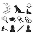 prison and the criminalblack icons in set vector image