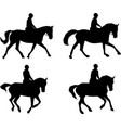 riding horses silhouettes set vector image vector image