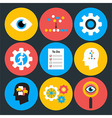 Search analyze and do flat circle icons vector image vector image