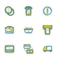 set of 9 flat line business icons shopping and vector image