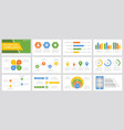 set yellow green orange and blue elements vector image