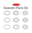 sunbursts frame set oval shape vector image vector image